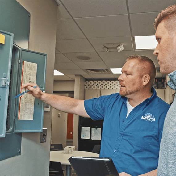Bonnivier Electric commercial electrician helping business owner